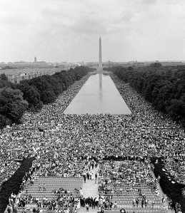 "Taken during MLKJR's, ""I Have A Dream"" speech on the steps of the Lincoln memorial, Washington DC 1963"