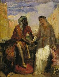 The Moor and his tragic beloved.  Othello and Desdemona from William Shakespeare's, Othello.