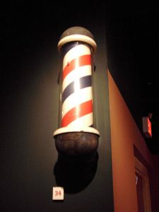 A 1938 barber pole, symbolizing the blood and bandages of an ancient trade.  Bloodletting anyone?
