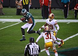 Riley Cooper catches a pass vs. the Redskins during the Eagles 24-16 victory on November 17, 2013.