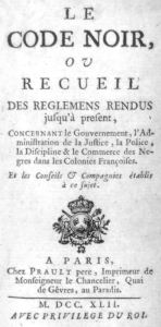 An example of the black codes from 1742